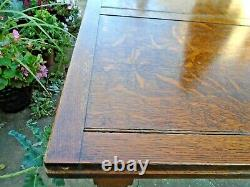 Antique Tiger Oak Arts & Crafts Refractory Dining Room Table withbarley twist legs