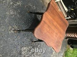 Antique Tiger Oak Ball & Claw Foot Parlor Lamp Table