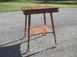 Antique Tiger Oak Ball & Claw Foot Parlor Lamp Table (restored)