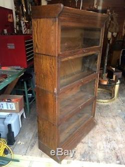Antique Tiger Oak Barrister Lawyers Cabinet 4 Section Stacking Bookcase 1900s