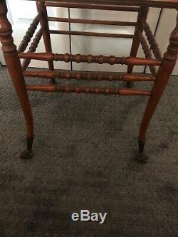 Antique Tiger Oak Bentwood Bench WithCurved Armrests Brass Finials & Claw Feet
