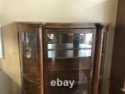 Antique Tiger Oak Bow Front Display / Curio Curved Glass Cabinet Wooden Shelves