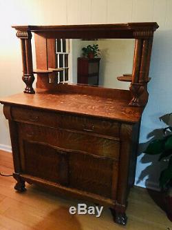 Antique Tiger Oak Buffet or Dresser 48 x 23 Missing some hardware/drawer pulls