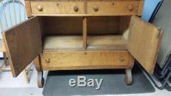 Antique Tiger Oak Buffet with Mirror and Shelf