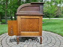 Antique Tiger Oak C Curve Roll Top Desk Grand Rapids Desk Co. MILWAUKEE Pickup