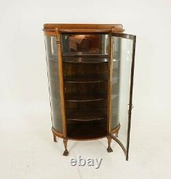 Antique Tiger Oak Cabinet, Bow Front China/Display Cabinet, American 1910, B2085