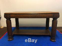 Antique Tiger Oak Carved Library Table Desk
