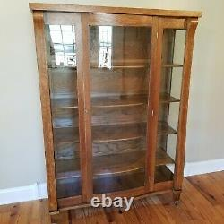 Antique Tiger Oak China Cabinet Bookcase Wavy Glass