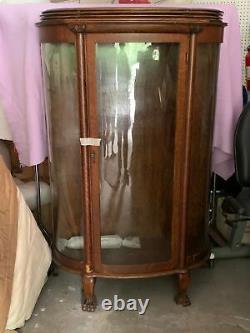 Antique Tiger Oak China Curio Cabinet Showcase Cupboard curved glass