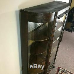Antique Tiger Oak Claw Foot Curved Curio Display China Cabinet