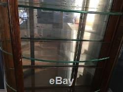 Antique Tiger Oak Curio Cabinet Curved Glass Mirrored Back Claw Feet RARE