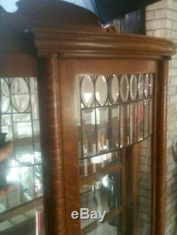 Antique Tiger Oak Curio Cabinet Curved Glass Mirrored Back Claw Feet with key RARE