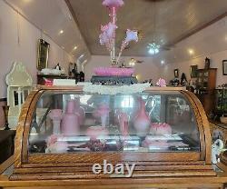 Antique Tiger Oak Curved Glass Front Countertop Showcase 37 w x 27 d x 16 t