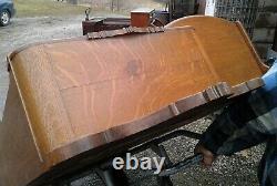 Antique Tiger Oak Curved Glass Secretary Side by Side Bookcase w Bonnet Top
