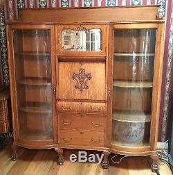 Antique Tiger Oak DBL SECRETARY Side X Side Serpen Bowed Doors Claw Ft, PRISTINE