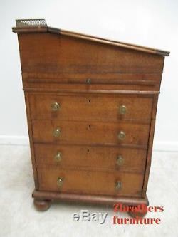 Antique Tiger Oak Davenport Ships Writing Desk Cabinet