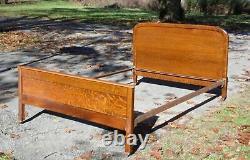 Antique Tiger Oak Demilune Full Size Double Bed c. 1900