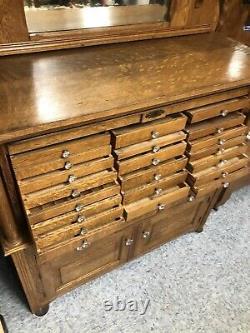 Antique Tiger Oak Dental Cabinet 27 Drawer Oak Cabinet Tambour c. 1900