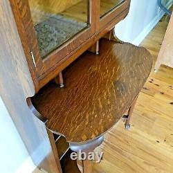 Antique Tiger Oak Desk Secretary Bookcase 65x29x19