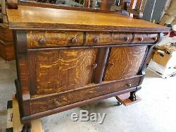 Antique Tiger Oak Dining Server with Mirror and Back Shelf BEAUTIFUL