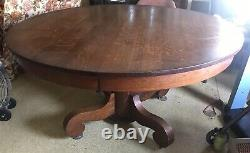 Antique Tiger Oak Dining table Only 42 wide farmhouse