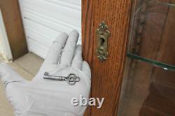 Antique Tiger Oak Doctor Medical Cabinet Oval Beveled Mirror Glass Display Shelv