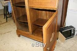 Antique Tiger Oak Drop Front Secretary Side by Side Bookcase with Mirror