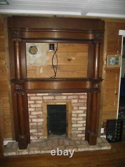 Antique Tiger Oak Fireplace Mantel Insert Circa Late 1800s