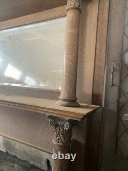 Antique Tiger Oak Fireplace Mantel Insert with Mirror Circa Late 1800s