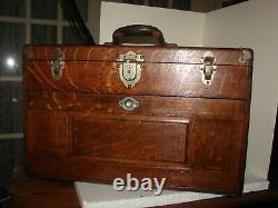 Antique Tiger Oak Gerstner & Sons Machinist Oak Tool Box 7 Drawers 20 X 12 X 9