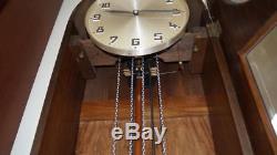 Antique Tiger Oak Grandfather Clock Art Deco Dial Germany
