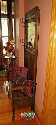 Antique Tiger Oak Hall Bench / Tree
