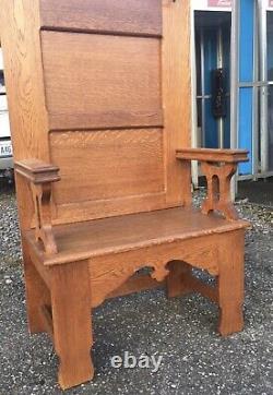 Antique Tiger Oak Hall Tree Arts & Crafts Carved Ornate Halltree Seat Bench Old