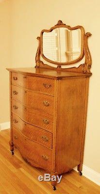 Antique Tiger Oak High Boy Dresser Chest of Drawers with Beveled Tilt Mirror