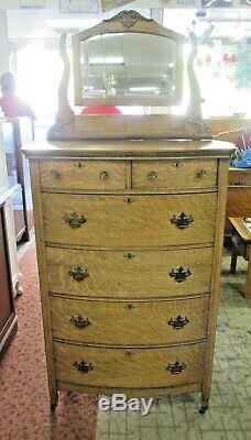 Antique Tiger Oak Highboy Dresser with Mirror