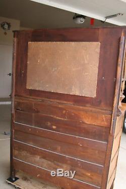 Antique Tiger Oak Hutch Highboy Cabinet Sideboard Buffet With Mirror