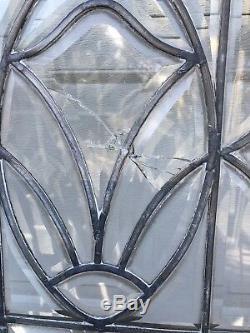Antique Tiger Oak Leaded Beveled Glass French Doors