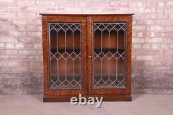 Antique Tiger Oak Leaded Glass Bookcase, Circa 1900