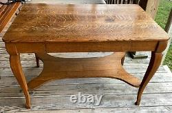 Antique Tiger Oak Library Table Eye Catching 1920's Prohibition era