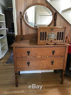 Antique Tiger Oak Mirror Top Dresser With Mirror Early 20th C. 60hx18dx38.5w