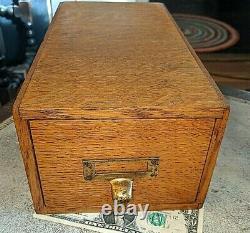 Antique Tiger Oak One Drawer Card Catalog Tabletop File Drawer 12 x 6 x 5