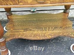 Antique Tiger Oak One Drawer Table