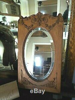 Antique Tiger Oak Oval Mirror With Beveled Glass- Circa 1890-must See