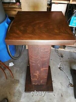 Antique Tiger Oak Pedestal Plant Stand 36x14