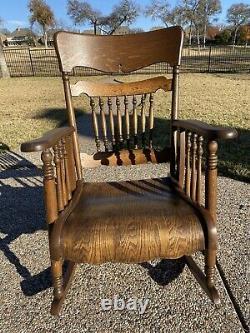 Antique Tiger Oak Quarter Sawn Oak Rocker Rocking Chair, Refinished