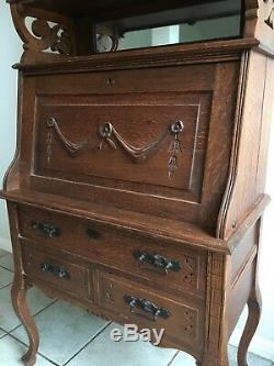 Antique Tiger Oak Secretary, Circa 1900