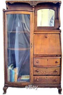 Antique Tiger Oak Secretary's Drop Leaf Desk Side By Side withGlass Cabinet Hutch