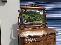 Antique Tiger Oak Serpentine Dresser Chest / Heavily Carved Mirror