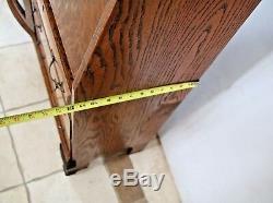 Antique Tiger Oak Side By Side Double Bookcase Secretary Curio Cabinet two shelf