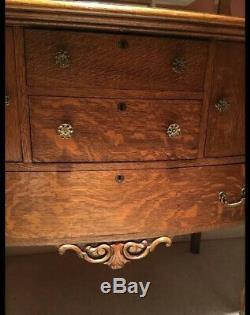 Antique Tiger Oak Sideboard Buffett Mirror Mission Queen Anne Cupboard Hutch Old